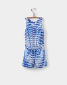Joules Sally Pool Blue Stripe Woven Playsuit