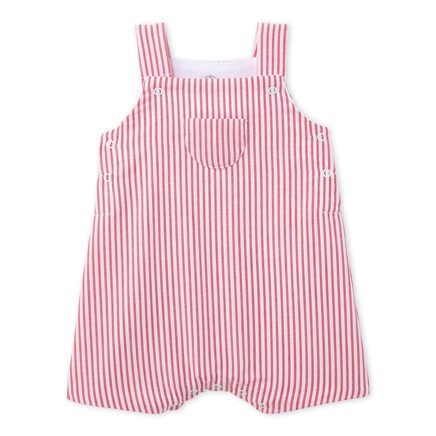 Petit Bateau Baby Boy Red Striped Overall