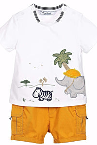 Mayoral Baby Boy Safari Twill Shorts Set