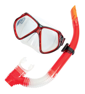 Silicone Pro Mask & Snorkel Set - adults red