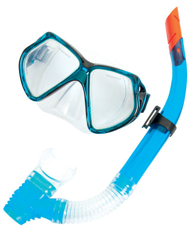 Silicone Pro Mask & Snorkel Set - adults blue