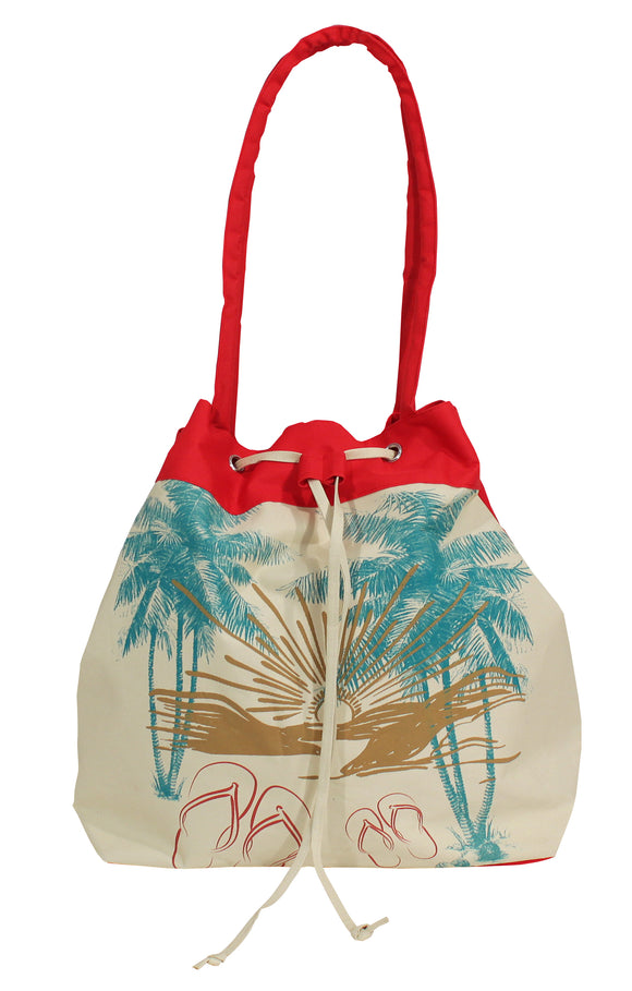 Palm & Sandals Drawstring Tote - red