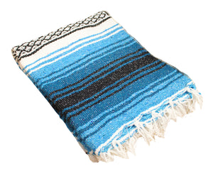 "Woven Beach Blanket Large 48""x72"" - teal & black"