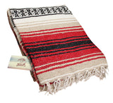 "Woven Beach Blanket Large 48""x72"" - red & black"