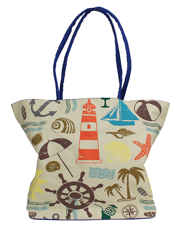 Palm & Sailboat Zipper Tote - blue