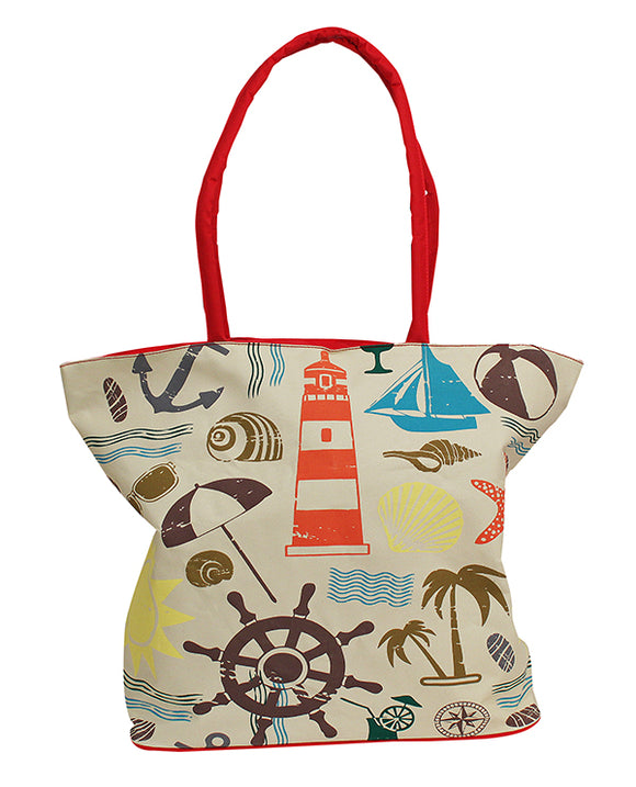 Palm & Sailboat Zipper Tote - red