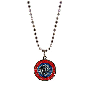 St. Christopher Necklace Small - aqua/red