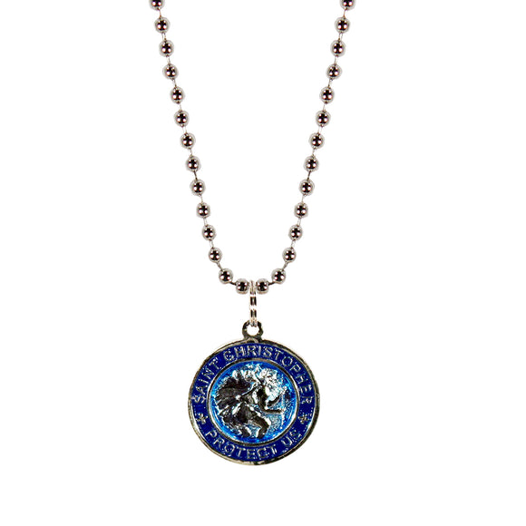 St. Christopher Necklace Small - aqua/navy
