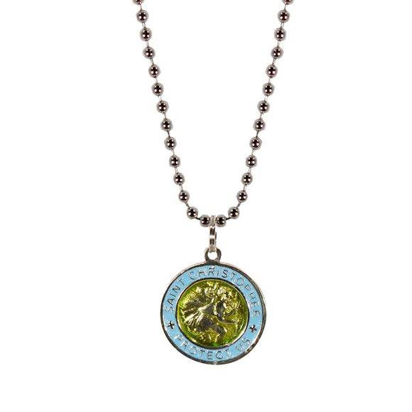 St. Christopher Necklace Small - lime/baby blue