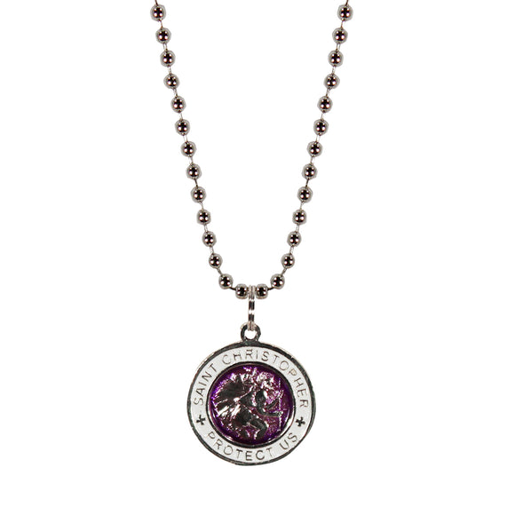 St. Christopher Necklace Small - purple/white