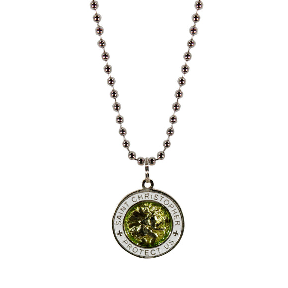 St. Christopher Necklace Small - green/white