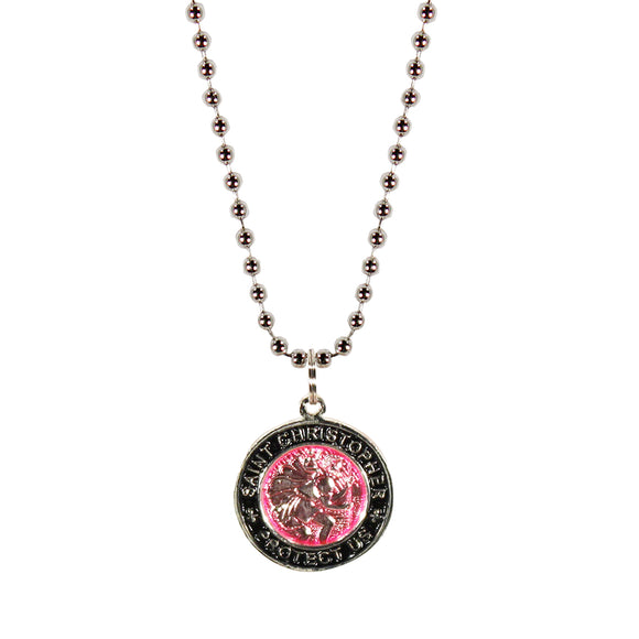 St. Christopher Necklace Small - fuchsia/black