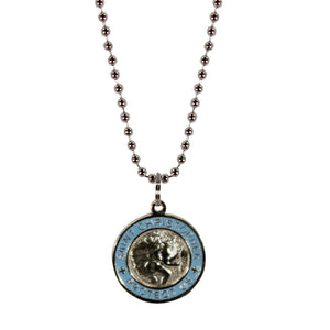 St. Christopher Necklace Small - silver/baby blue