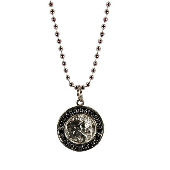 St. Christopher Necklace Small - silver/black