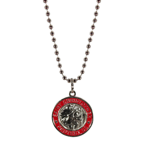 St. Christopher Necklace Small - silver/red