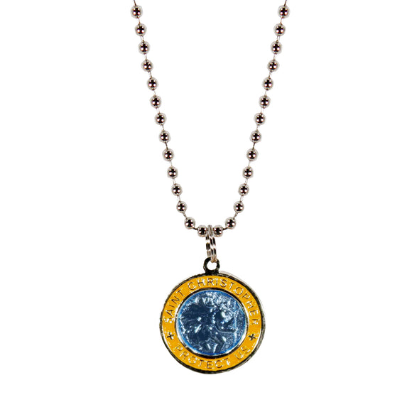 St. Christopher Necklace Small - aqua/yellow
