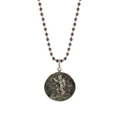 St. Christopher Necklace Large - silver/red