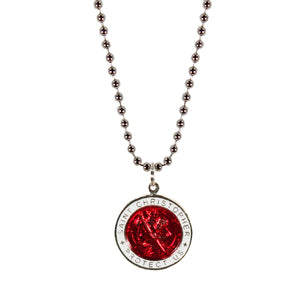 St. Christopher Necklace Large - red/white