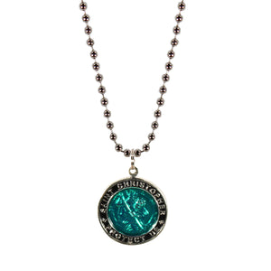 St. Christopher Necklace Large - green/black