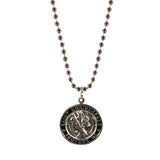 St. Christopher Necklace Large - silver/black