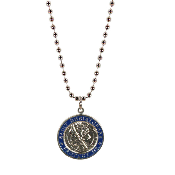 St. Christopher Necklace Large - silver/navy