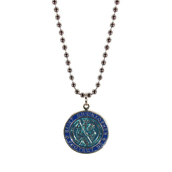 St. Christopher Necklace Large - aqua blue/navy