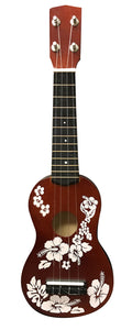 "Ukulele Floral Face Painted 20"" - brown"