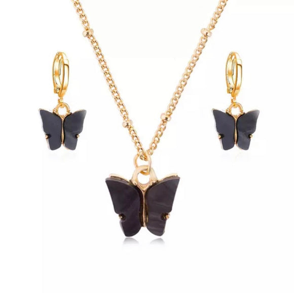 Butterfly Earrings and Necklace set