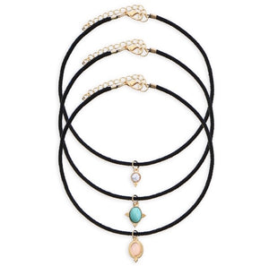 3 Piece Gemstone Choker Set