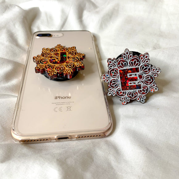 Red Glitter Collection Initial phone grip