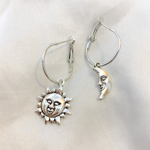 Lunar Collection Silver Sun And Moon Hoop Earrings