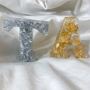 Silver and Gold Leaf Standing Letter