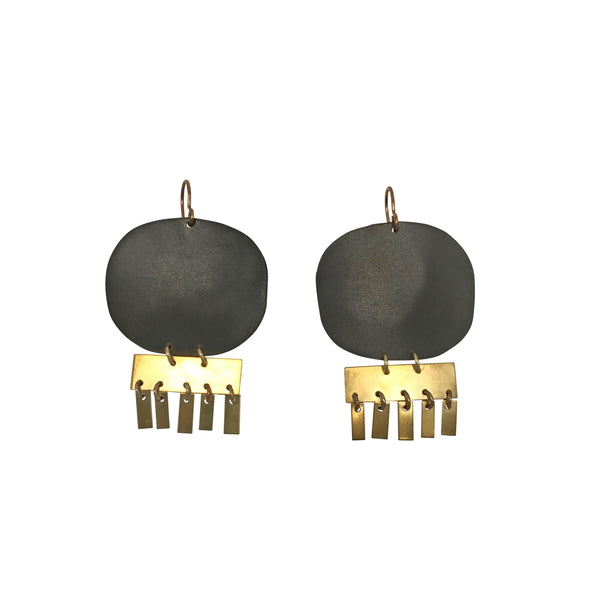 Brass Drum Earrings