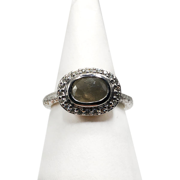 18K White Gold Grey Oval Diamond Ring