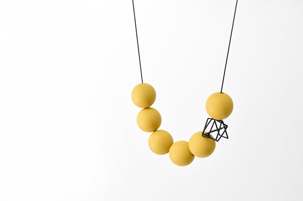 Mustard Orb Short Necklace