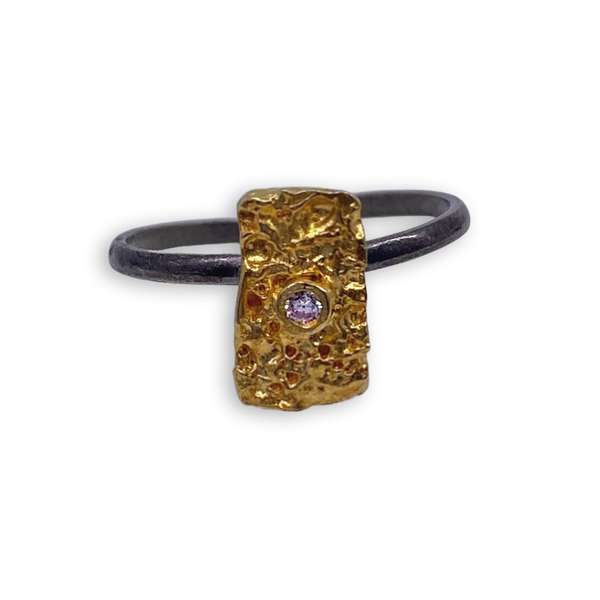 Gold Rectangle  + Crystal Ring