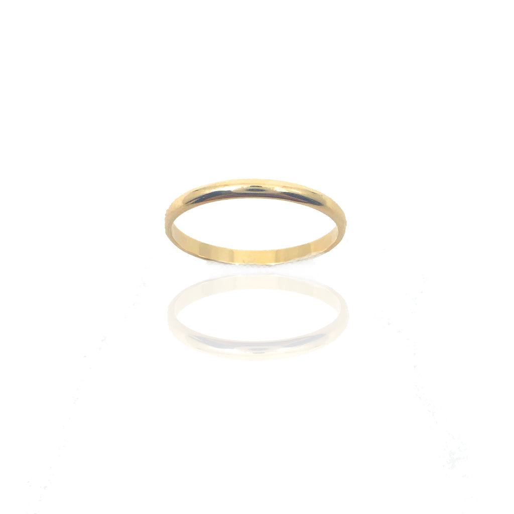 2mm Half Round Gold Band