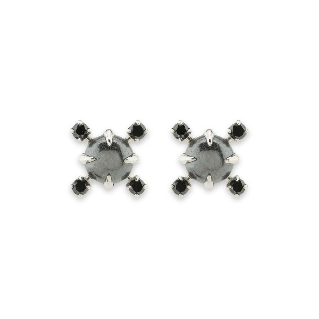 Hematite and sterling silver stud earrings with 4 black diamonds, on white background.