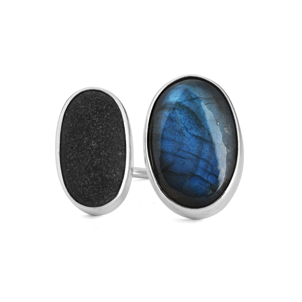 Large Labradorite and Stone Duo Ring