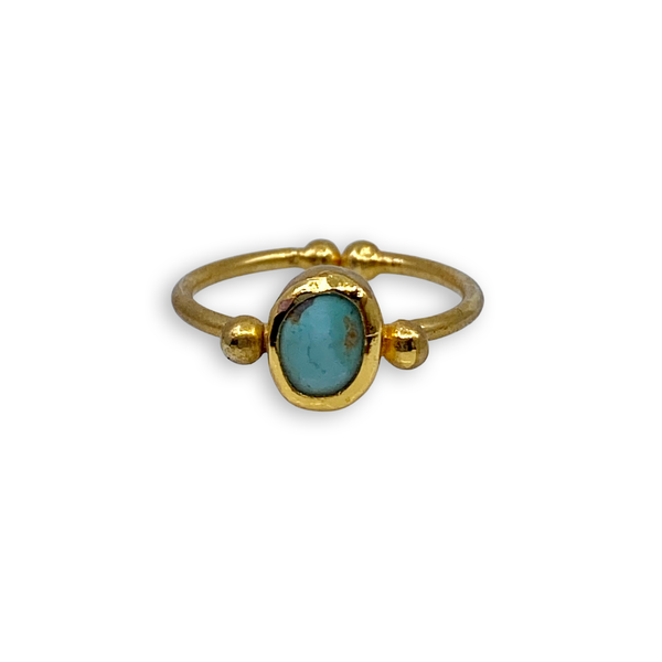 Gold Adjustable Turquoise Ring