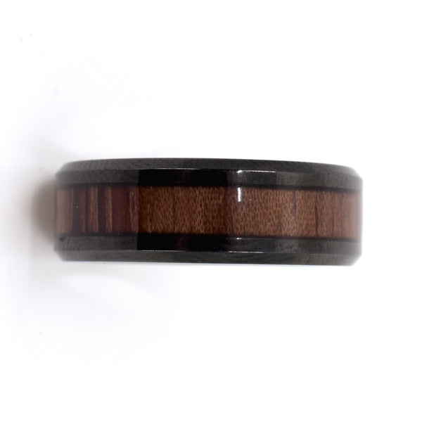 Black Steel and Rosewood Inlay Men's Band