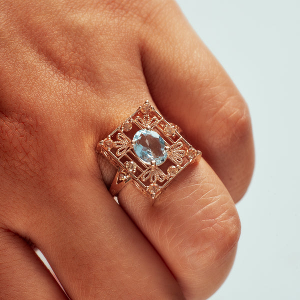 Aquamarine + Rose Gold with Champagne Diamonds