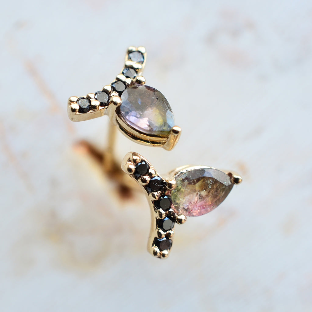 Tourmaline + Black Diamond Petal Studs