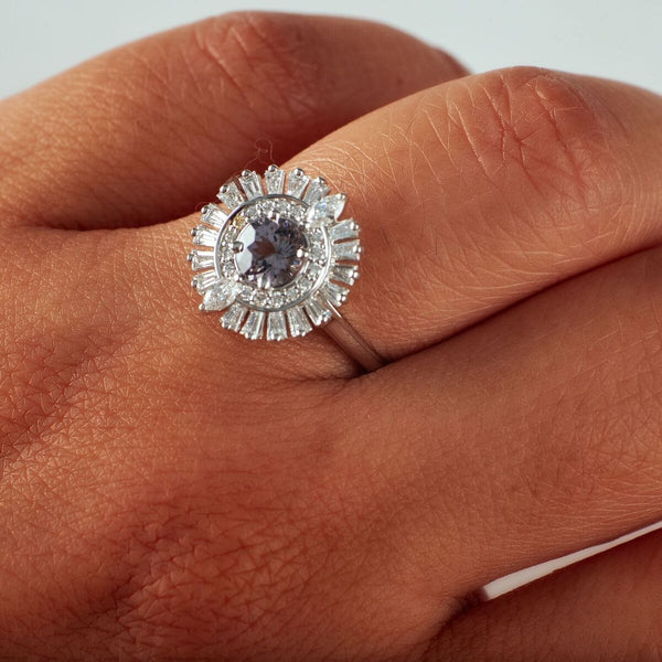 """Beyoncé"" Grey Spinel + Diamond Halo Ring"