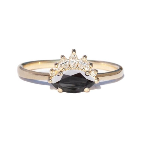 Black Diamond Marquis Amour Ring