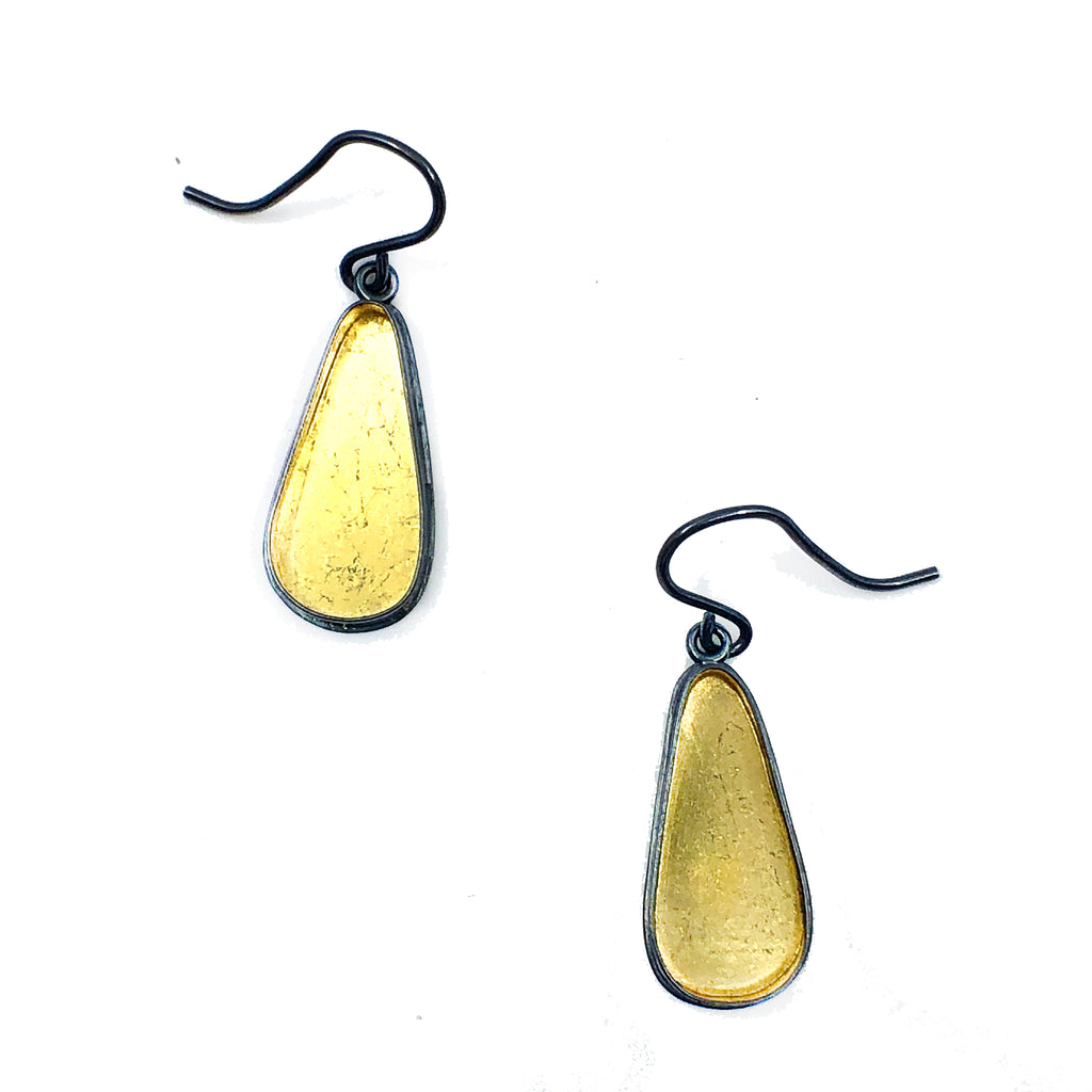 Black + Gold Teardrop Earrings