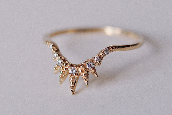 Andromeda 14K Gold Diamond Arc Band