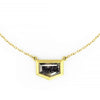 RUSTIC GEO BEZEL NECKLACE WITH BLACK SHIELD DIAMOND