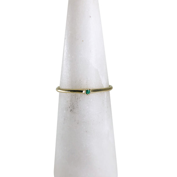 14k Yellow Gold Petite Emerald Ring