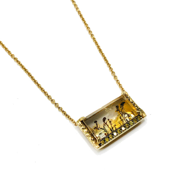 Dendritic Quartz Necklace with Yellow Diamonds